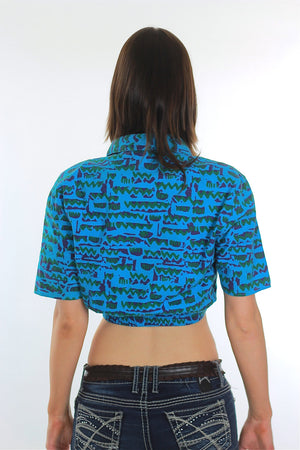 80s boho abstract graphic belly shirt  crop top - shabbybabe  - 4