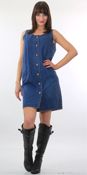 Grunge button up denim shift mini dress - shabbybabe  - 1