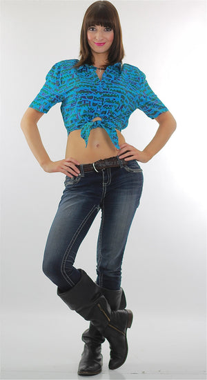 80s boho abstract graphic belly shirt  crop top - shabbybabe  - 5