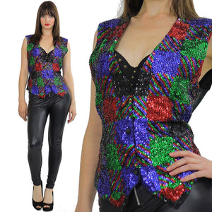 80s patchwork Deco Sequin beaded top vest - shabbybabe  - 2