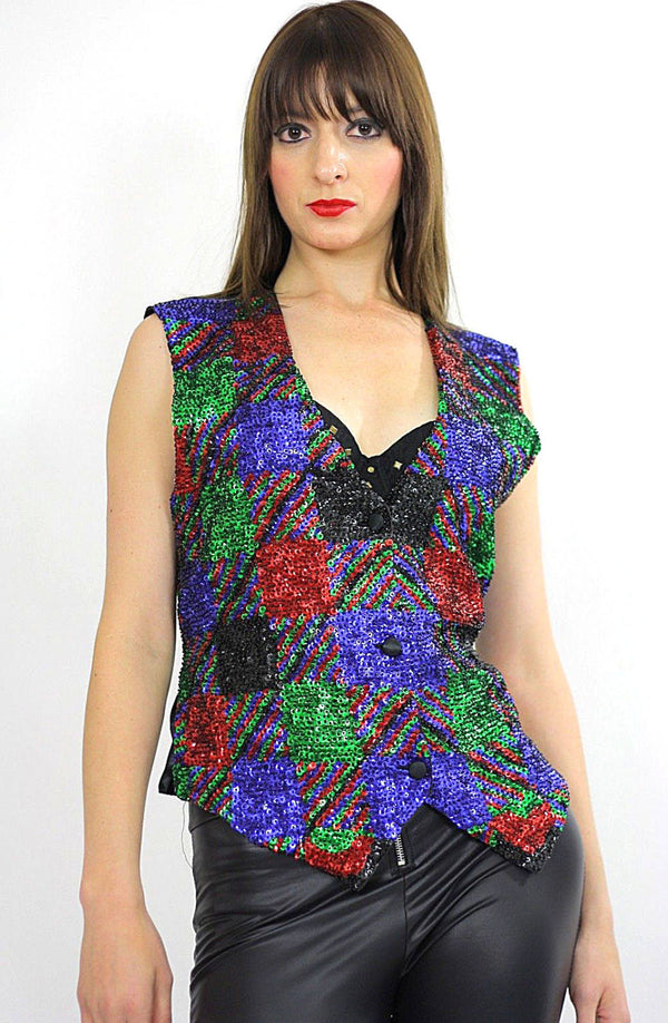80s patchwork Deco Sequin beaded top vest - shabbybabe  - 1