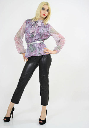 Boho sheer purple floral bow blouse pleated top M - shabbybabe  - 3