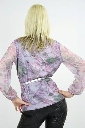 Boho sheer purple floral bow blouse pleated top M - shabbybabe  - 5