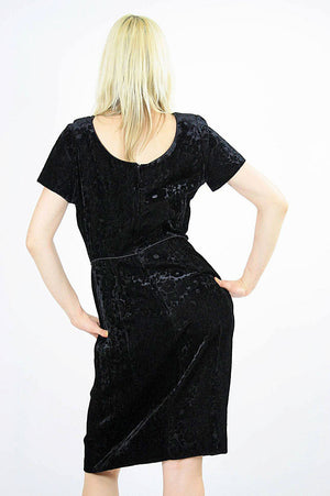 Black velvet  party dress cocktail short sleeve 60s sheath - shabbybabe  - 5