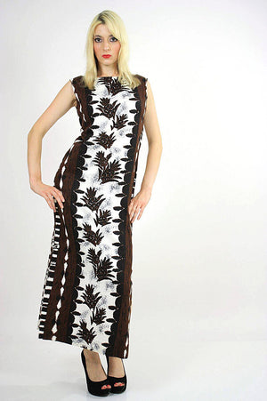 Boho  Hippie Hawaiian caftan maxi dress Ethnic tribal print M - shabbybabe  - 1