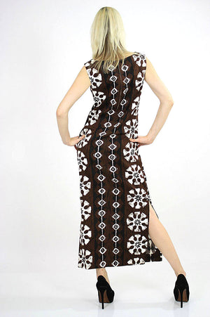 Boho  Hippie Hawaiian caftan maxi dress Ethnic tribal print M - shabbybabe  - 3