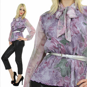 Boho sheer purple floral bow blouse pleated top M - shabbybabe  - 2