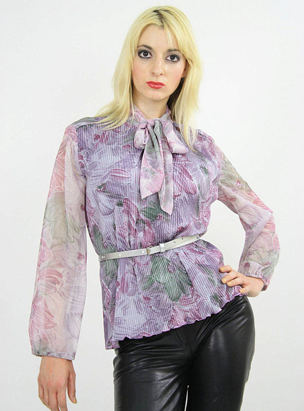 Boho sheer purple floral bow blouse pleated top M - shabbybabe  - 1