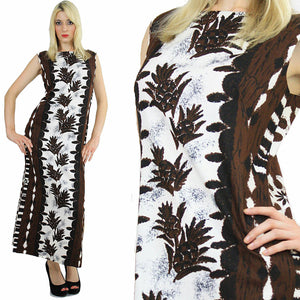 Boho  Hippie Hawaiian caftan maxi dress Ethnic tribal print M - shabbybabe  - 2
