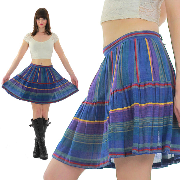 Vintage 1990s Grunge skirt Neon striped mini skirt Boho mini skirt Hippie mini skirt Sheer gauze mini skirt Festival M - shabbybabe  - 1