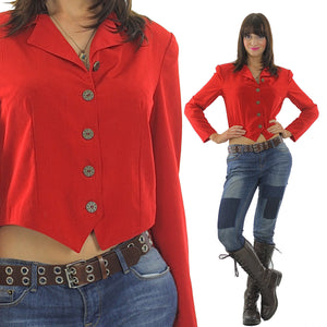 Red jacket top Vintage 90s corset top shirt Corset blouse buttoned top Crop top Cropped jacket  Rocker jacket Party top Boho blouse - shabbybabe  - 2