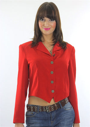 Red jacket top Vintage 90s corset top shirt Corset blouse buttoned top Crop top Cropped jacket  Rocker jacket Party top Boho blouse - shabbybabe  - 1