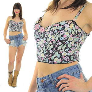 80s Boho floral Bustier corset crop bra top - shabbybabe  - 2