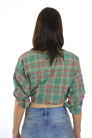 90s Grunge boho green plaid Ralph Lauren crop top shirt - shabbybabe  - 5