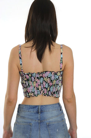 80s Boho floral Bustier corset crop bra top - shabbybabe  - 5