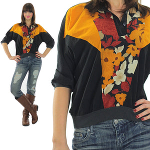 80s Boho Color block oversized floral shirt top - shabbybabe  - 2