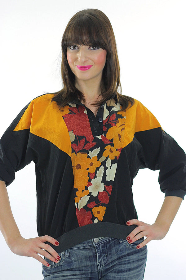 80s Boho Color block oversized floral shirt top - shabbybabe  - 1