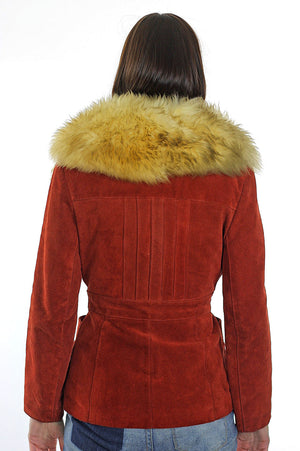 Fur collar suede jacket Vintage 80s Shearling jacket Bohemian cropped suede leather jacket rust color leather jacket  S - shabbybabe  - 5