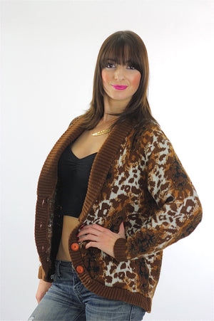 Leopard Sweater 90s Animal Print Cheetah Cardigan slouchy Retro Oversized Bohemian Hippie top medium - shabbybabe  - 3