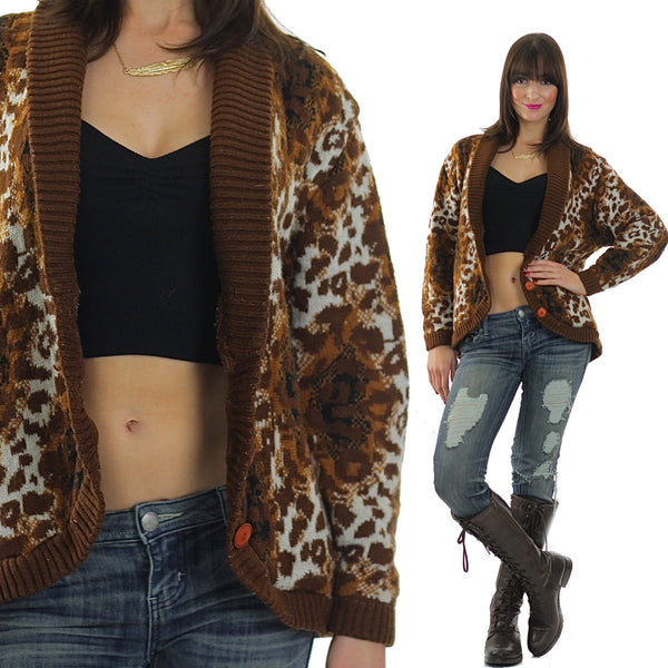 Leopard Sweater 90s Animal Print Cheetah Cardigan slouchy Retro Oversized Bohemian Hippie top medium - shabbybabe  - 1