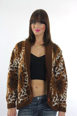 Leopard Sweater 90s Animal Print Cheetah Cardigan slouchy Retro Oversized Bohemian Hippie top medium - shabbybabe  - 2
