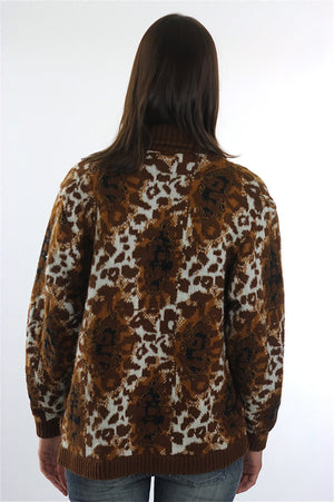 Leopard Sweater 90s Animal Print Cheetah Cardigan slouchy Retro Oversized Bohemian Hippie top medium - shabbybabe  - 4