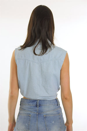 90s Grunge striped Bohemian belly shirt crop top - shabbybabe  - 4