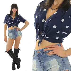 90s grunge top Polka dot crop top  Navy blue Polkadot belly shirt M - shabbybabe  - 2
