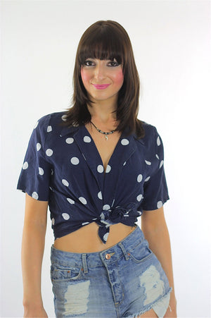 90s grunge top Polka dot crop top  Navy blue Polkadot belly shirt M - shabbybabe  - 3