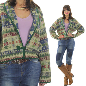 70s boho hippie cotton tribal cropped jacket - shabbybabe  - 2