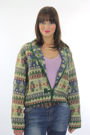 70s boho hippie cotton tribal cropped jacket - shabbybabe  - 3