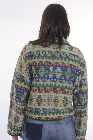 70s boho hippie cotton tribal cropped jacket - shabbybabe  - 4