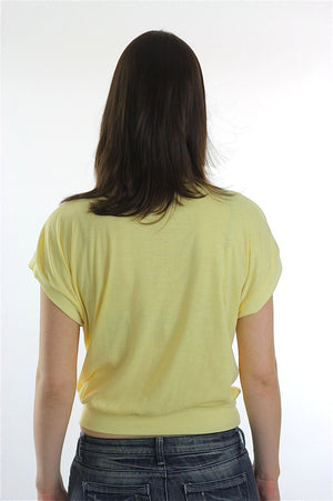 yellow shirt Crop top 1980s Pastel slouchy retro deep V Plunging oversized slouchy tee shirt Medium Large - shabbybabe  - 4