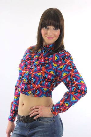 80s Boho Crop top jacket Abstract Cotton Neon Belly shirt Gypsy Bohemian M - shabbybabe  - 3