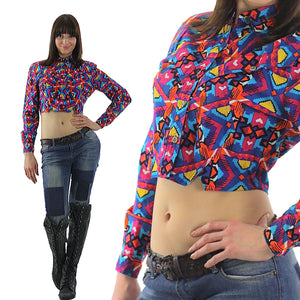 80s Boho Crop top jacket Abstract Cotton Neon Belly shirt Gypsy Bohemian M - shabbybabe  - 2