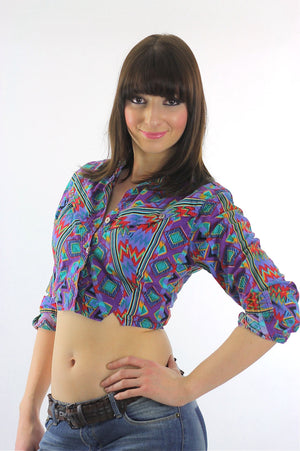 Bohemian Crop Top tribal shirt 80s Gypsy Cropped Purple button up top M - shabbybabe  - 3