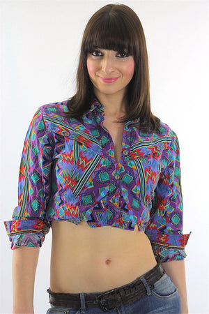 Bohemian Crop Top tribal shirt 80s Gypsy Cropped Purple button up top M - shabbybabe  - 1