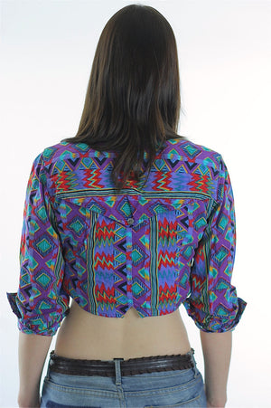 Bohemian Crop Top tribal shirt 80s Gypsy Cropped Purple button up top M - shabbybabe  - 4