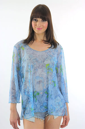90s sheer Boho blouse grunge floral tunic top angel sleeve Plus Size - shabbybabe  - 3