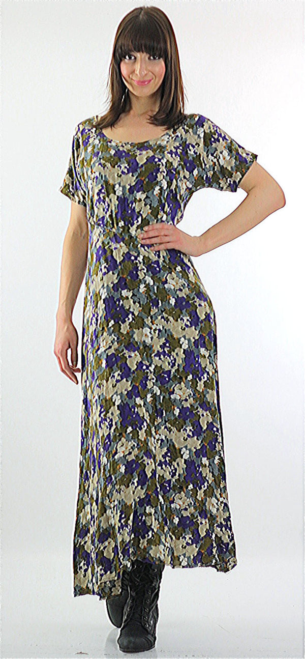 90s Grunge floral purple cream baby doll dress - shabbybabe  - 1