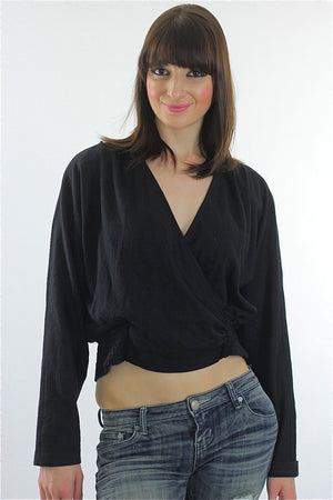 80s Disco Gothic Boho Deep V black Crop top shirt - shabbybabe  - 2