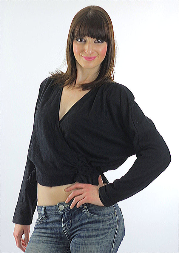 80s Disco Gothic Boho Deep V black Crop top shirt - shabbybabe  - 1