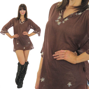 embroidered mini Dress sheer floral Vintage 70s Hippie Tunic Top Brown Cotton Floral Gypsy Dress Festival Small Medium - shabbybabe  - 2
