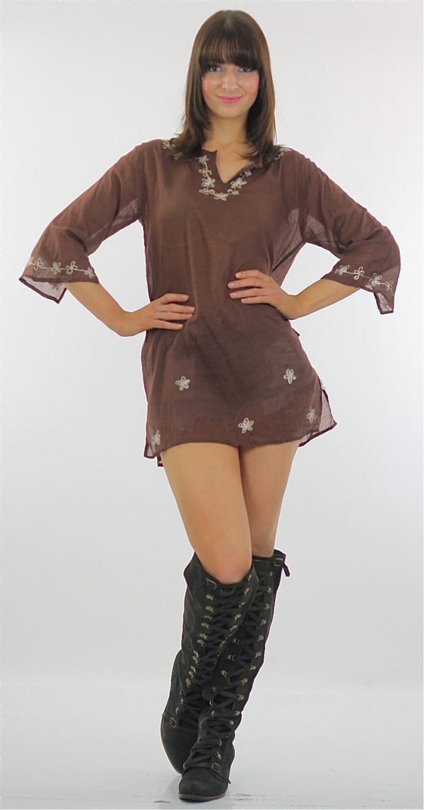 embroidered mini Dress sheer floral Vintage 70s Hippie Tunic Top Brown Cotton Floral Gypsy Dress Festival Small Medium - shabbybabe  - 1