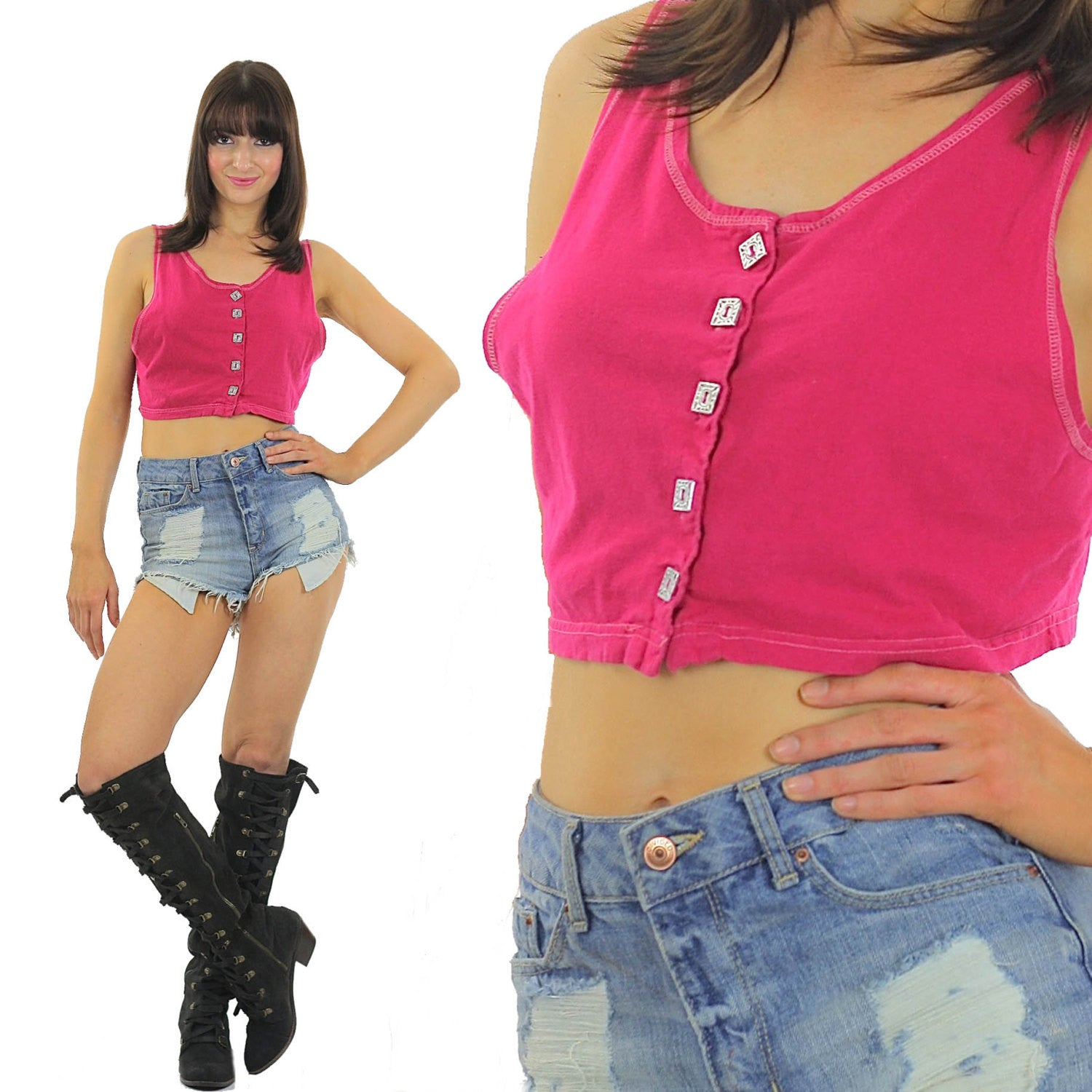 Pink Crop top Sleeveless Scoop Neck Button down Tank top 90s Grunge 80s  blouse Hot Pink Bright Bohemian Small Medium - shabbybabe