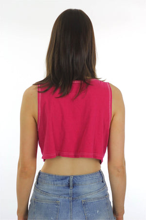 Pink Crop top Sleeveless Scoop Neck Button down Tank top 90s Grunge 80s blouse Hot Pink Bright Bohemian Small Medium - shabbybabe  - 4