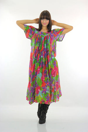 70s Boho Hippie sheer floral caftan Trapeze Tent Dress - shabbybabe  - 3