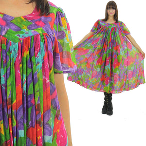 70s Boho Hippie sheer floral caftan Trapeze Tent Dress - shabbybabe  - 2