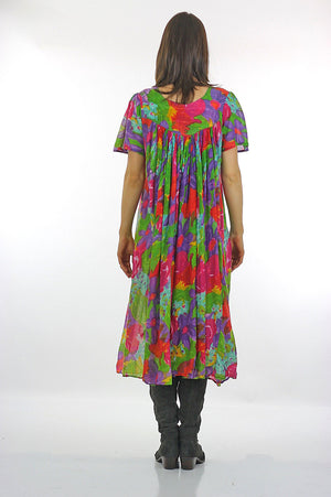70s Boho Hippie sheer floral caftan Trapeze Tent Dress - shabbybabe  - 4