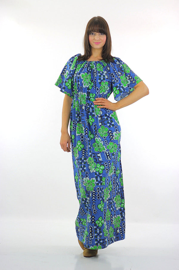 Boho hippie clover caftan maxi dress Hawaiian Shamrock loose fit Kaftan  L - shabbybabe  - 1